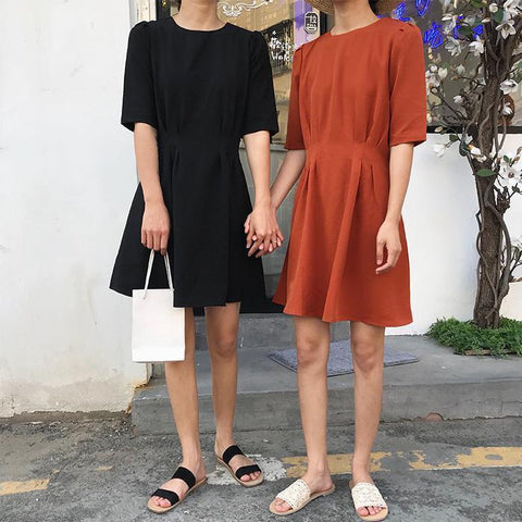 BLACK KHAKI CLOSED ABOVE KNEE SHORT SLEEVE SUMMER DRESS