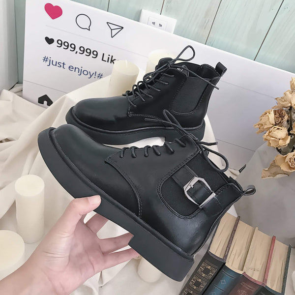 BLACK LEATHER METAL BUCKLE ZIPPER FLAT ANKLE BOOTS