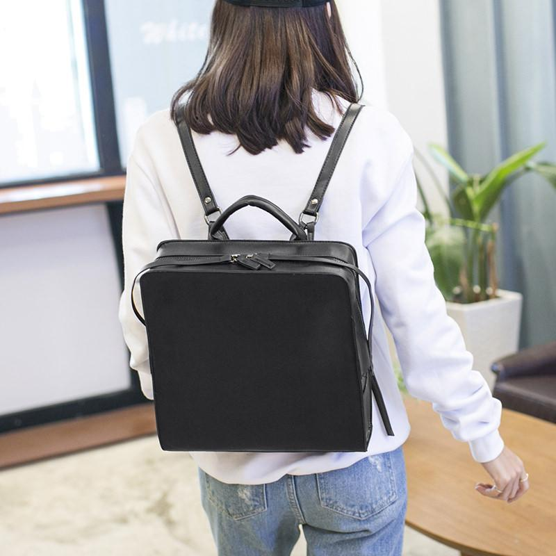 BLACK LEATHER SQUARE MINIMALISTIC ZIPPER BACKPACK