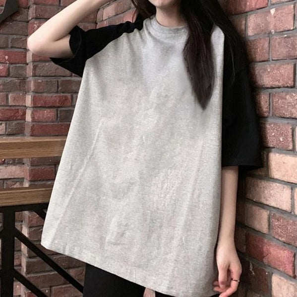 BLACK LIGHT GRAY MEDIUM SLEEVES LOOSE T-SHIRT