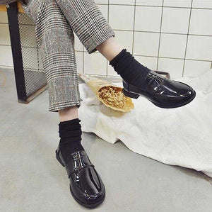 BLACK MATTE PU LEATHER LOAFERS SHOES