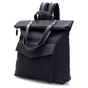 BLACK MINIMALISTIC SATCHEL BACKPACK