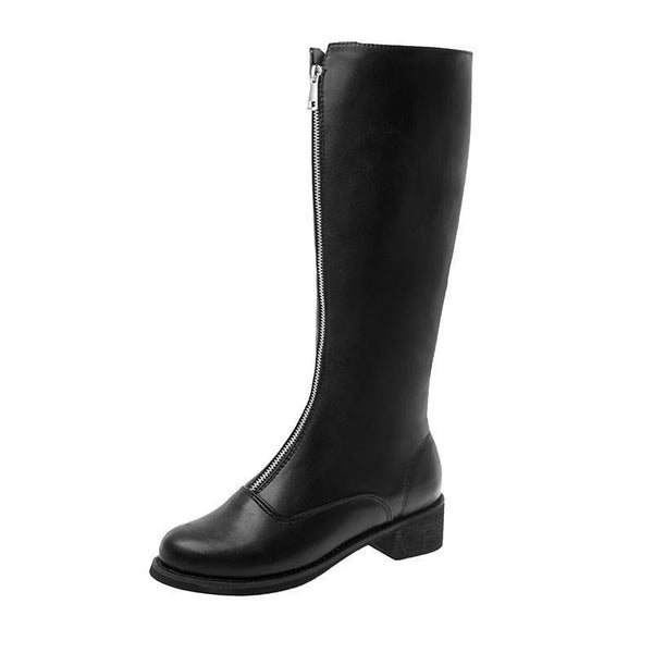 BLACK PLATFORM HEEL ZIPPER HIGH BOOTS