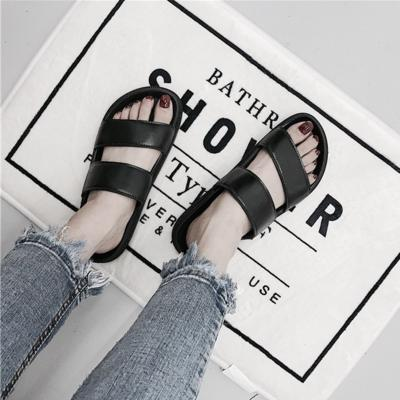 BLACK PU PALM LEAVES PRINT SUMMER FLAT RUBBER SANDALS