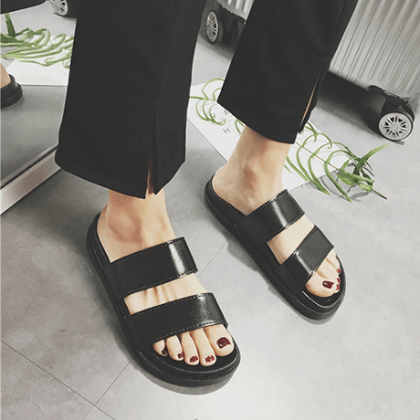 BLACK PU WATERPROOF SUMMER FLAT RUBBER SANDALS