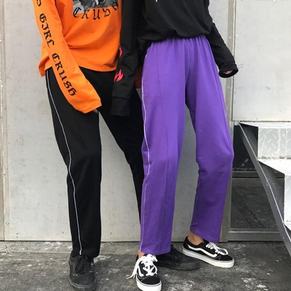 BLACK PURPLE SIDE LINES LOOSE COMFY SWEATPANTS