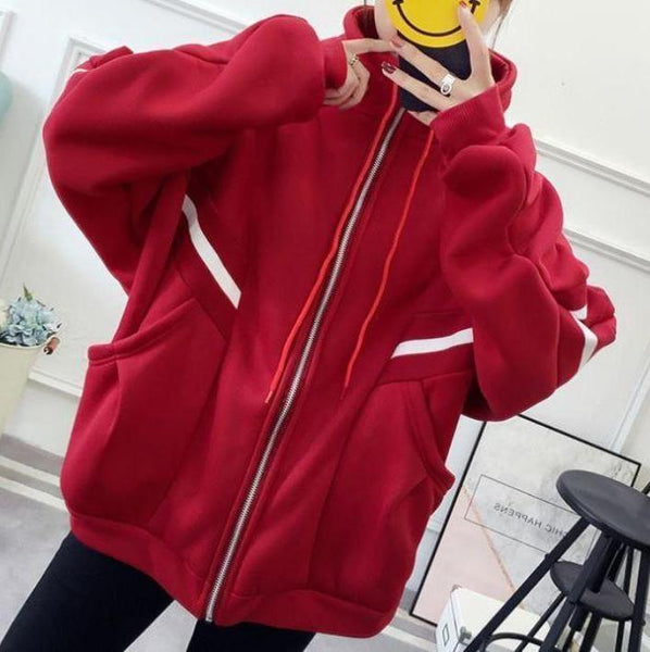 BLACK RED CONTAST COLOR OVERSIZED THICK ZIPPER SWEATSHIRT