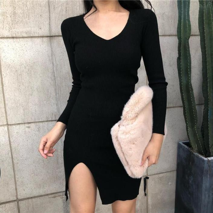 BLACK SLIM SEXY SIDE LEG CUT LONG SLEEVE OPEN NECK DRESS