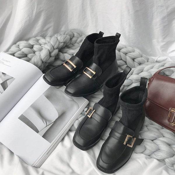 BLACK SQUARE BUCKLE VELVET WARM BOOTS