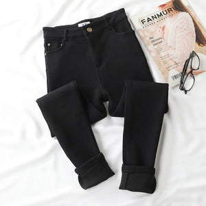 BLACK STRETCHY WARM VELVET INSIDE JEANS
