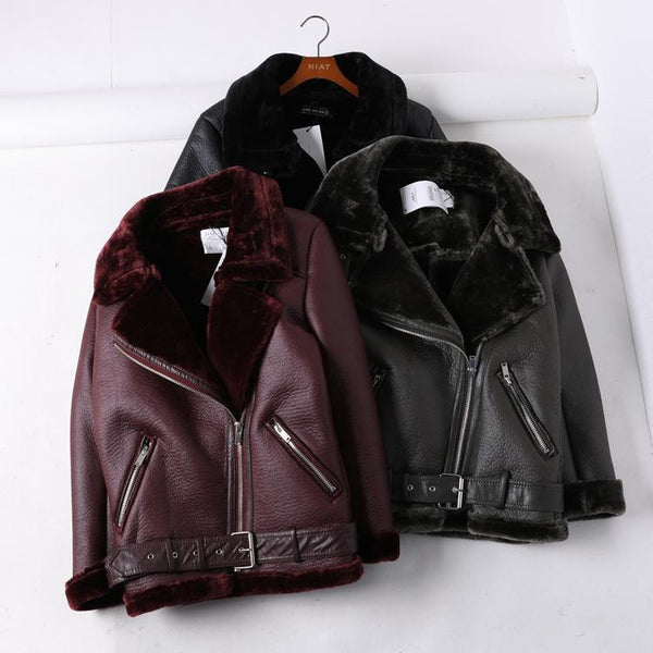 BLACK VINOUS MOTORCYCLE LEATHER WARM VELVET JACKET
