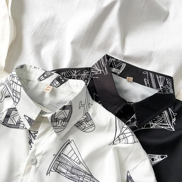 BLACK WHITE BOATS LINED PATTERN LOOSE SHIRT