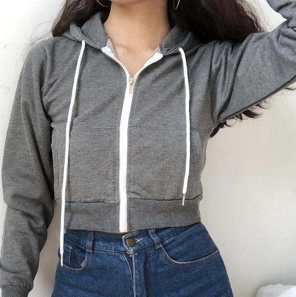 BLACK WHITE GRAY DARK BLUE CROP HOODIE