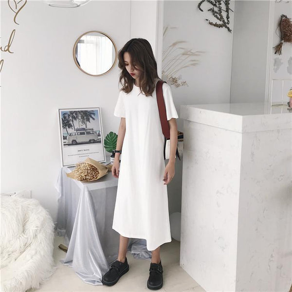BLACK WHITE LONG ROUND NECK LOOSE SHIRT DRESS