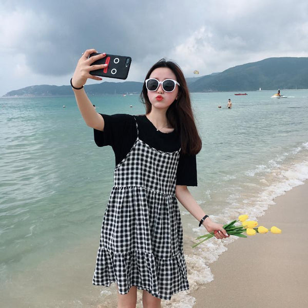 BLACK WHITE PLAID SUMMER SLEEVLESS DRESS