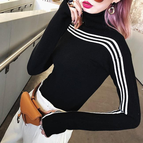 BLACK WHITE SLIM SPORTY LINES HIGH NECK BLOUSE