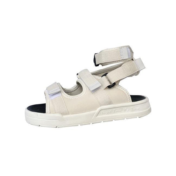 BLACK WHITE SPORTY STRAPS PLATFORM SUMMER SANDALS