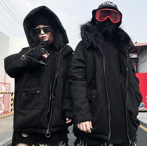 BLACK WINTER FUR HOOD UNISEX COAT JACKET