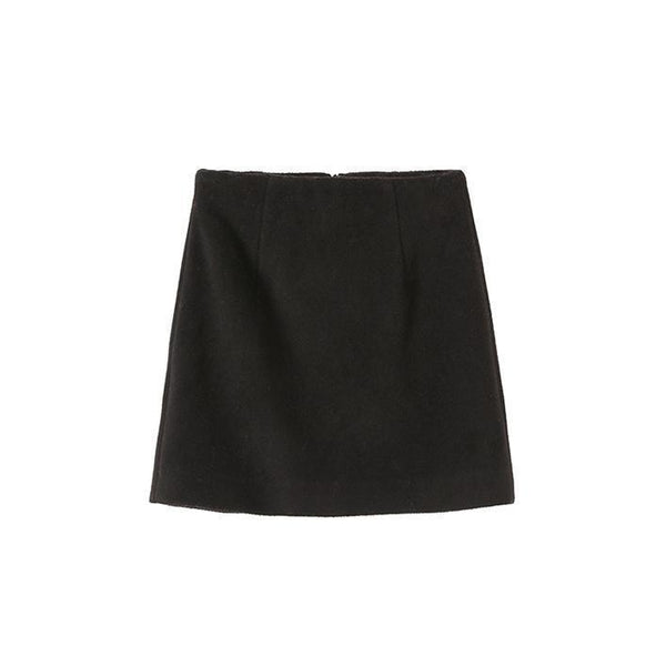 BLACK WOOLEN A LINE HIGH WAIST SKIRT