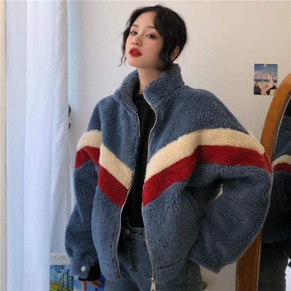 BLUE BEIGE BRIGHT LINES FLUFFY JACKET