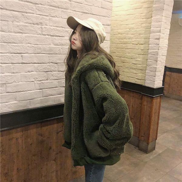 BLUE DARK GREEN CURLY FAUX FUR LOOSE HOODED JACKET