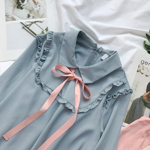 BLUE LOLITA CHIFFON COLLAR PINK SILK RIBBON OVERSIZED DRESS