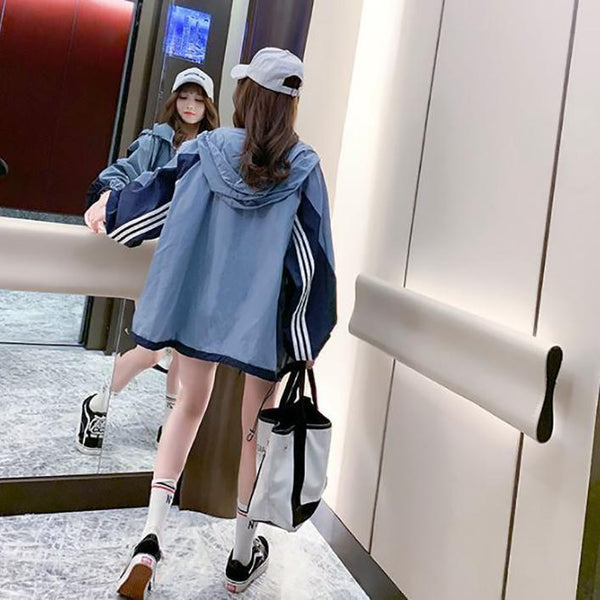 BLUE SIDE STRIPES OVERSIZED ZIPPER HOODED SWEATSHIRT