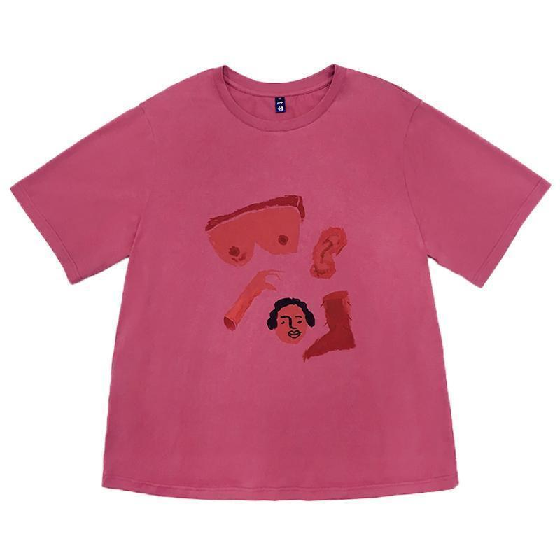 BODY PARTS CARTOON PRINTED OVERSIZED T-SHIRT