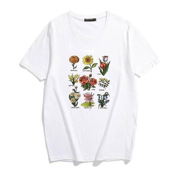 BOTANICAL PRINT AESTHETIC GIRL WHITE T-SHIRT