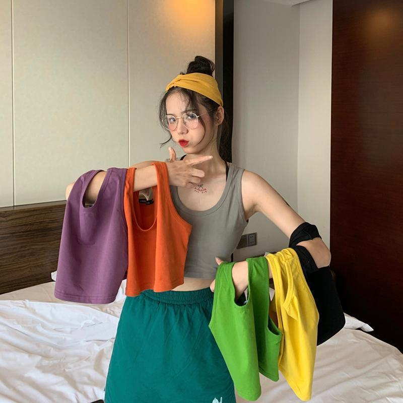 BRIGHT COLORS AESTHETIC SUMMER THIN CROP TOP