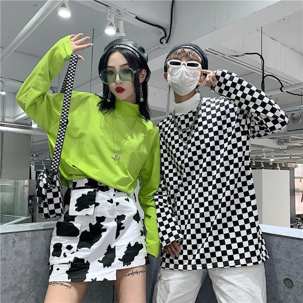 BRIGHT GREEN CHECKERED BLACK AND WHITE LONG SLEEVE