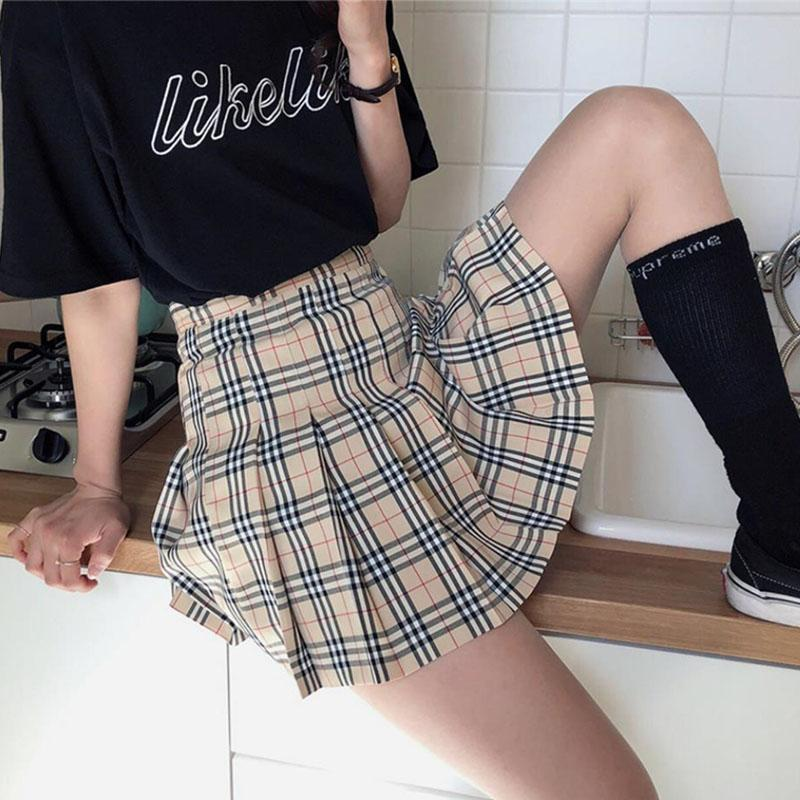 BRITISH STYLE PLAID PLEATED SKIRT