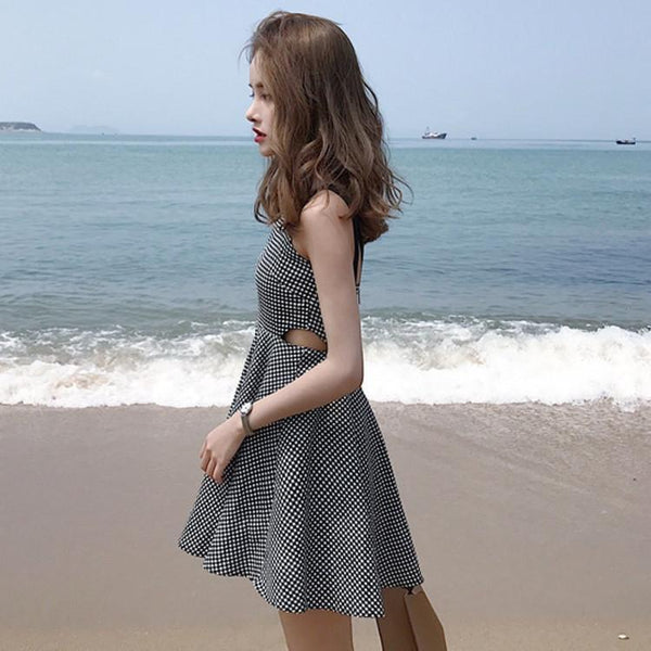 BW PLAID WAIST DOUBLE CUTS SLIM SUMMER DRESS