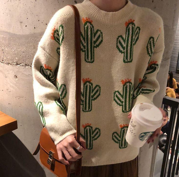 CACTUS PATTERN YELLOW BLUE BEIGE KNIT OVERSIZED SWEATER