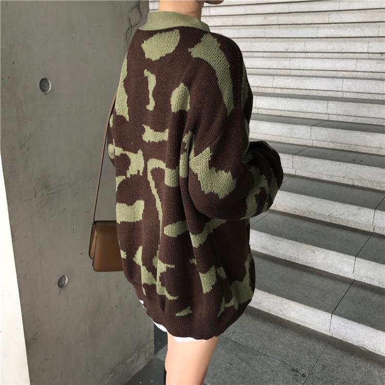 CAMOUFLAGE KNITTED OVERSIZED CARDIGAN