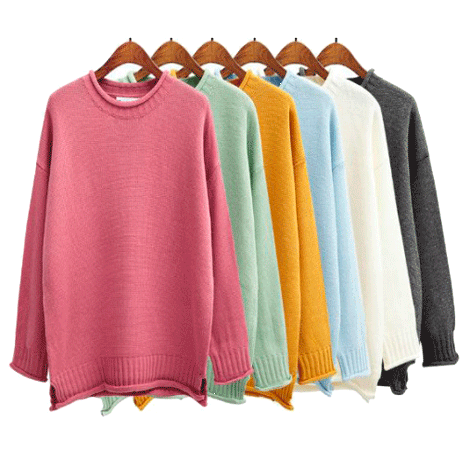 CANDY COLORS KNIT O-NECK SWEATERS