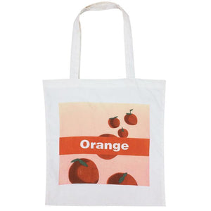 CANVAS ORANGE PRINT SHOPPING SHOULDER BAG