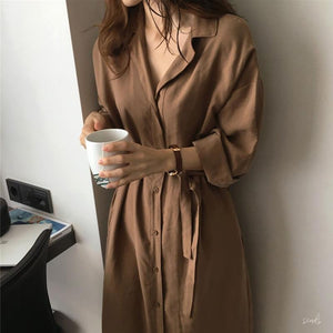 CARAMEL NAVY BLUE BUTTONS THIN LONG CARDIGAN DRESS