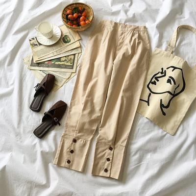 CASUAL CREAMY ELASTIC WAIST SQUARE BUTTONS PANTS