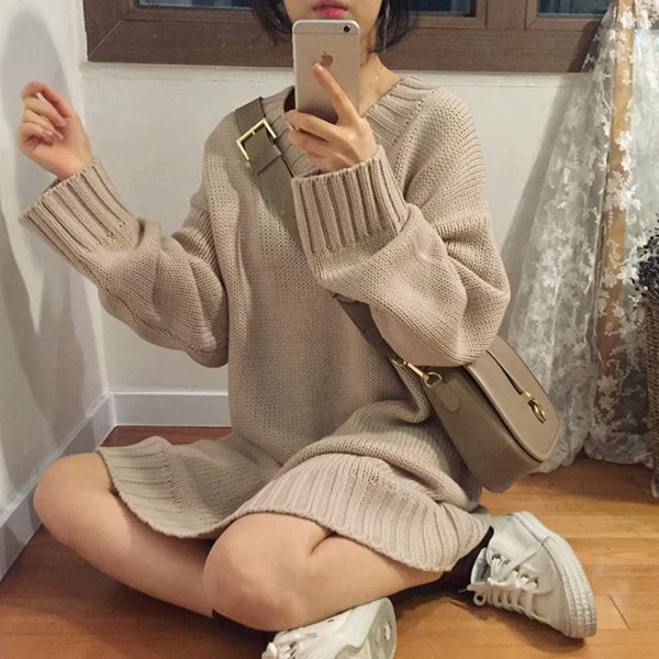 CASUAL OVERSIZE SOLID COLORS LONG DRESS SWEATER
