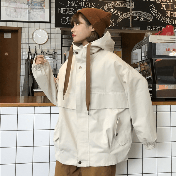 CASUAL OVERSIZED HOODED SNAP-BUTTONS POCKETS WINDBREAKER
