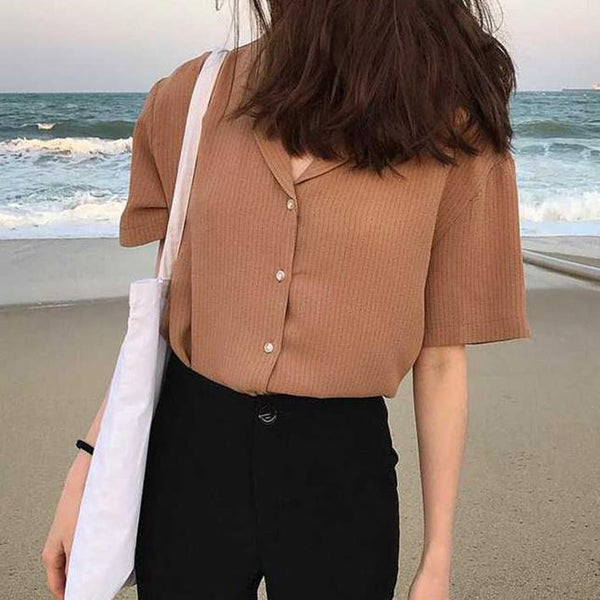 CASUAL PINSTRIPE V-NECK SHORT SLEEVE BLOUSE