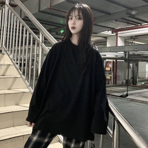 CASUAL SOLID COLOR OVERSIZED LONG SLEEVE T-SHIRT