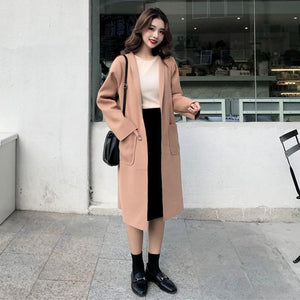 CASUAL STYLE PINK WHITE SOFT LONG COAT