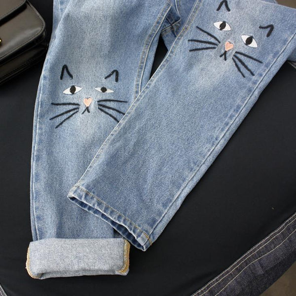 CAT FACE KNEE EMBROIDERY JEANS