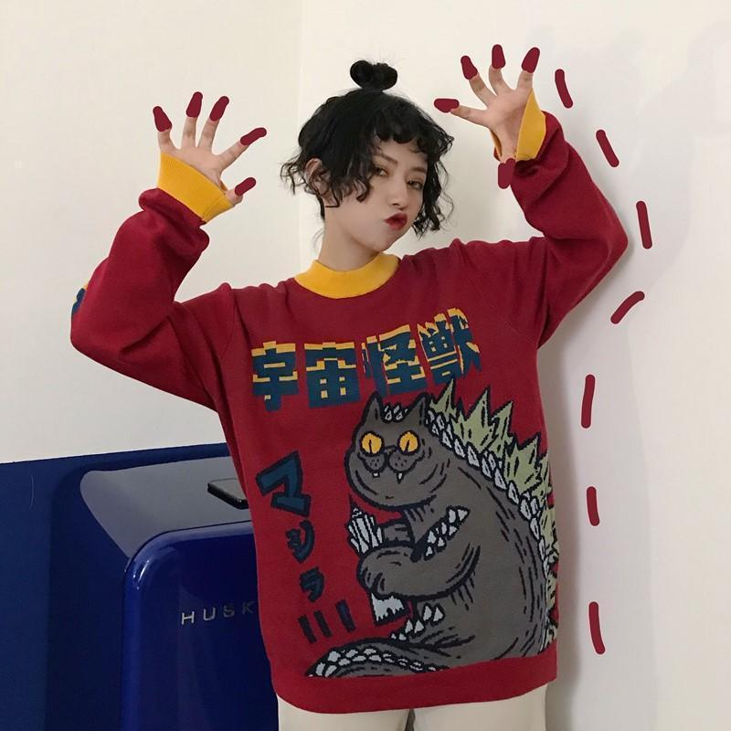 CATZILLA MONSTER RED AWESOME SWEATSHIRT