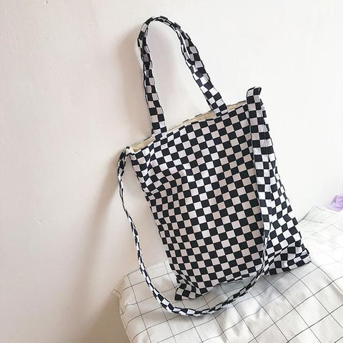 CHECKER GRID BW TOTE CANVAS BAG