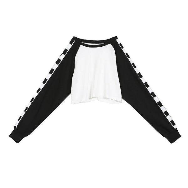 CHECKER RACER CROP TOP LONG GRID SLEEVE