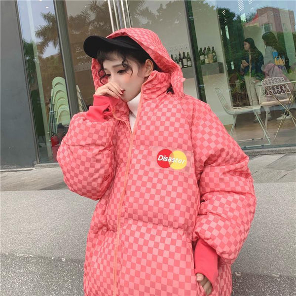 CHECKERED PUFF HOODED TUMBLR AESTHETIC LOOSE JACKET
