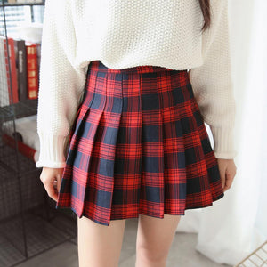 CHECKERED SCHOOL RED WHITE PLAID PLEATED ABOVE KNEE SKIRT